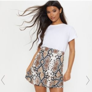PrettyLittleThing Snake Flippy Mini Skirt